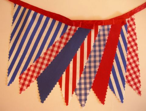 BUNTING Nautical Style - Red White Blue - Plain Stripe Gingham on Red Ribbon - 3m/10ft or 5m/16ft